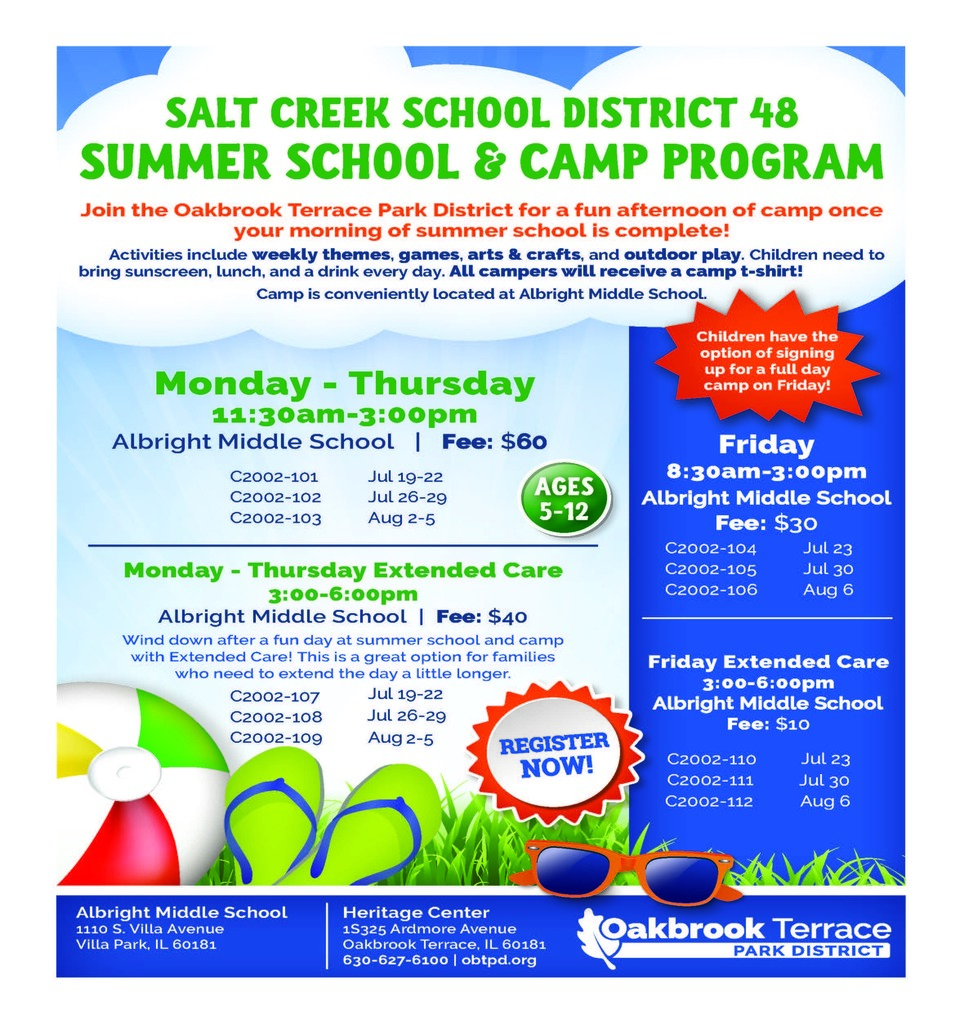 Oakbrook Terrace Park District Summer Camp Flyer