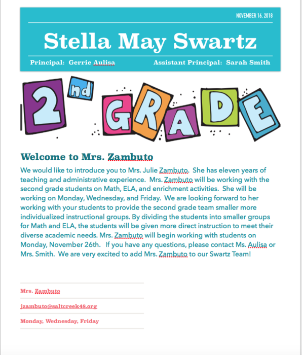 New 2nd grade team member at Swartz
